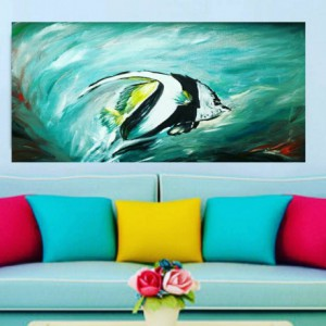 tropical painting living room