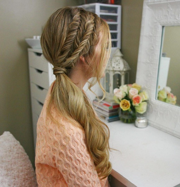 embrace a romantic double fishtail side pony with this tutorial beauty