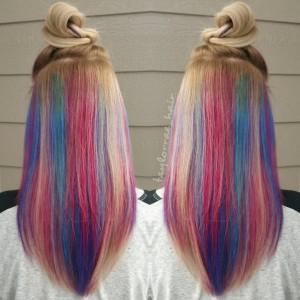 25 Mesmerizing Hidden Rainbow Hair | LoveHairStyles.com  |Rainbow Hair Underneath Light