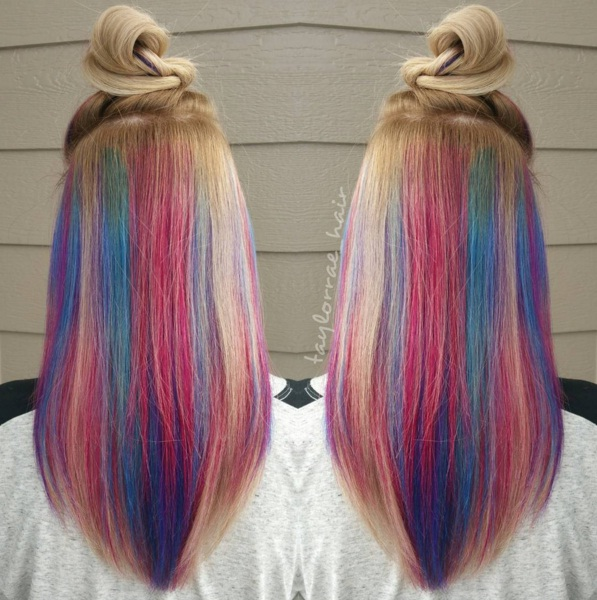 Blonde Hair With Rainbow Underneath Underlights Are The Crazy