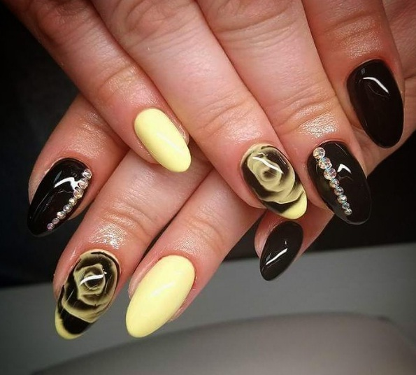 Bright Mustard Hued Nails And A Sleek Glossy Topcoat Can Look Youthful Chic Finish Off Your Manicure By Accenting Couple Of Fingertips With Tiny