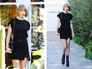 6d851d9970 Copy Taylor Swift s Little Black Dress And Edgy Midi Boots