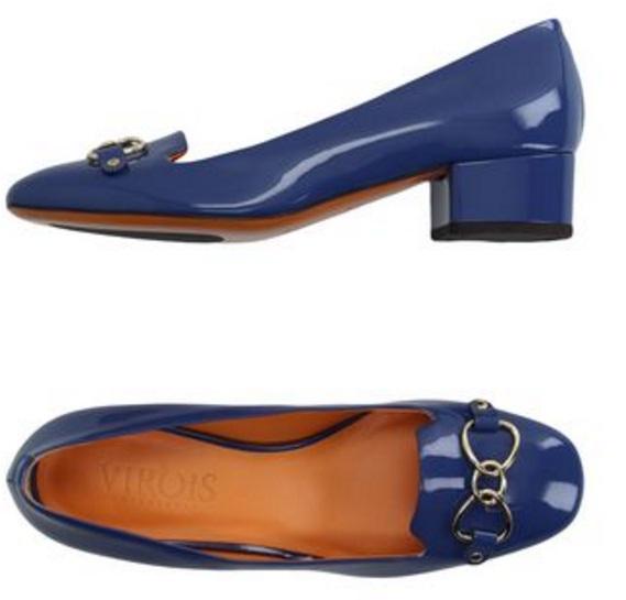 blue leather pumps