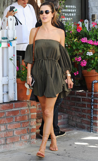 1b723c0f90 Get Alessandra Ambrosio s Green Off-The-Shoulder Dress For The ...