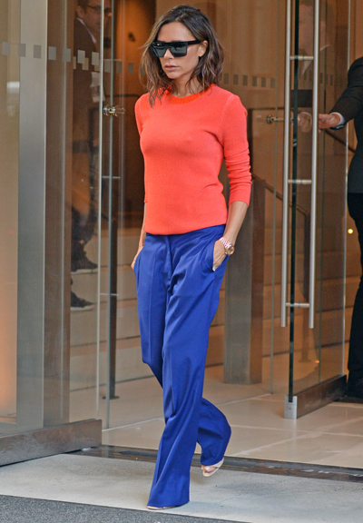 Victoria Beckham Leaves Her NYC Hotel In A Colorful Outfit