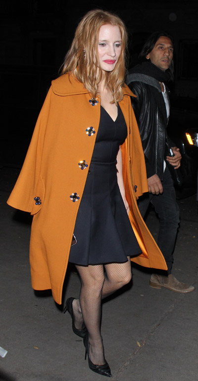 Copy Jessica Chastain S Long Orange Coat And Little Black