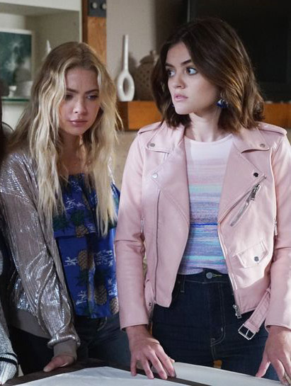 df4ed18a4 Steal Lucy Hale's Pink Leather Jacket From