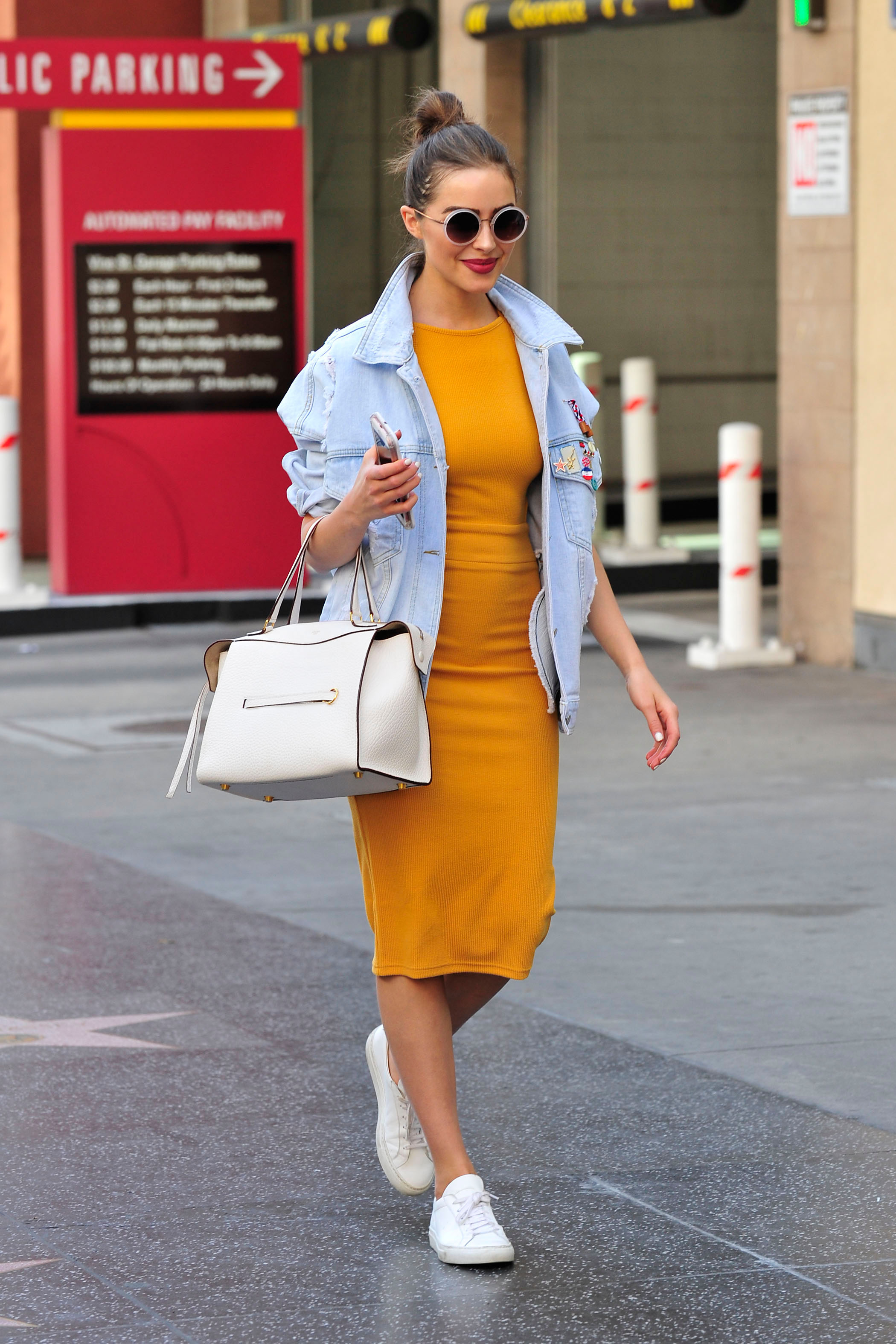 Copy Olivia Culpo's Mustard Dress And Denim Jacket For ...