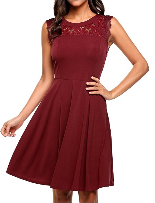 Meaneor Pleated Lace Tail Party Dress 33 With Its Illusion Neckline And Fl Detail This Little Burgundy Just Might Be A Good Look For