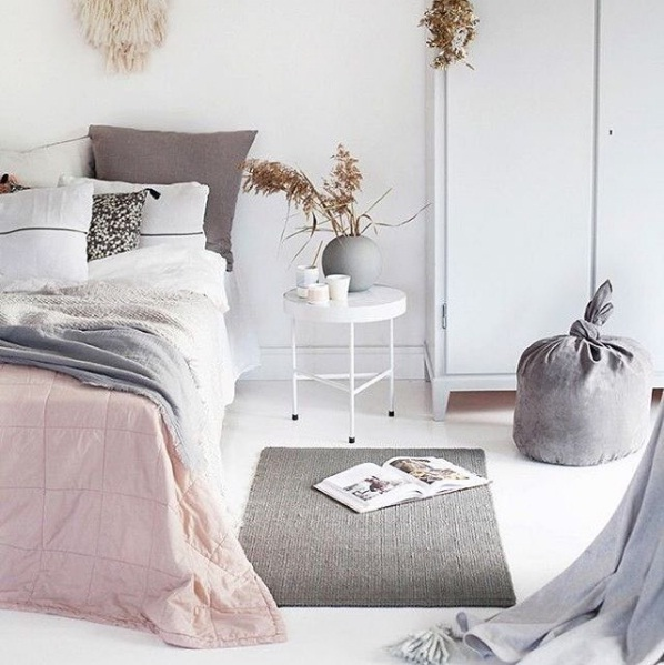 Grey And Lilac Bedroom