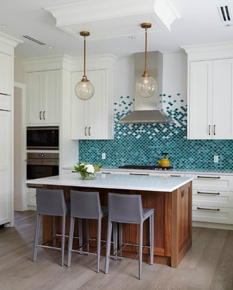 Kitchen Backsplash Tile Trends 2016: Fish Scale Tiles Bring The Mermaid Trend Home This Season